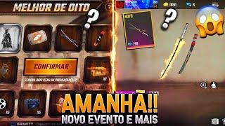 AMANHÃ!! NOVO EVENTO COM PACOTE ALGOZ CAÍDO, RECARGA COM SKIN KATANA, NOVA LOJA E MAIS - FREE FIRE