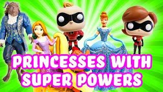 Incredibles 2 Elastigirl & Mr Incredible give Disney Princesses Super Powers! w Belle & Rapunzel!