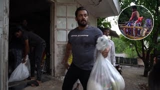 Salman Khan donates food and groceries to poor people..