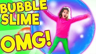 WORLD'S BIGGEST GIANT SLIME BUBBLES! LEARN HOW TO MAKE SUPER STRETCHY BUBBLE SLIME