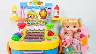 Baby doll kitchen toy, Slime Learn Colors Mix clay boneka dapur mainan warna tanah liat  Puppe Küche