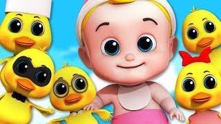 Duck Song   Junior Squad Cartoon Videos For Kids   five little ducks