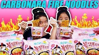 CARBONARA SPICY FIRE NOODLE CHALLENGE   Tran Twins