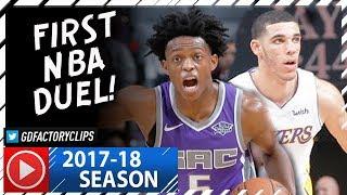 Lonzo Ball vs De'Aaron Fox First NBA Duel Highlights (2017.11.22) Lakers vs Kings - INTENSE!