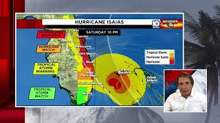 Hurricane Isaias shrinks in size, still forecast to come close to South Florida coast