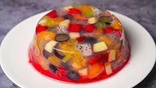 Fruit Jelly Cake   Agar Agar Jelly Fruit Cake Recipe   Yummy