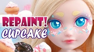 Repaint! Cupcake Sprinkles Custom OOAK Doll Ever After High Apple White