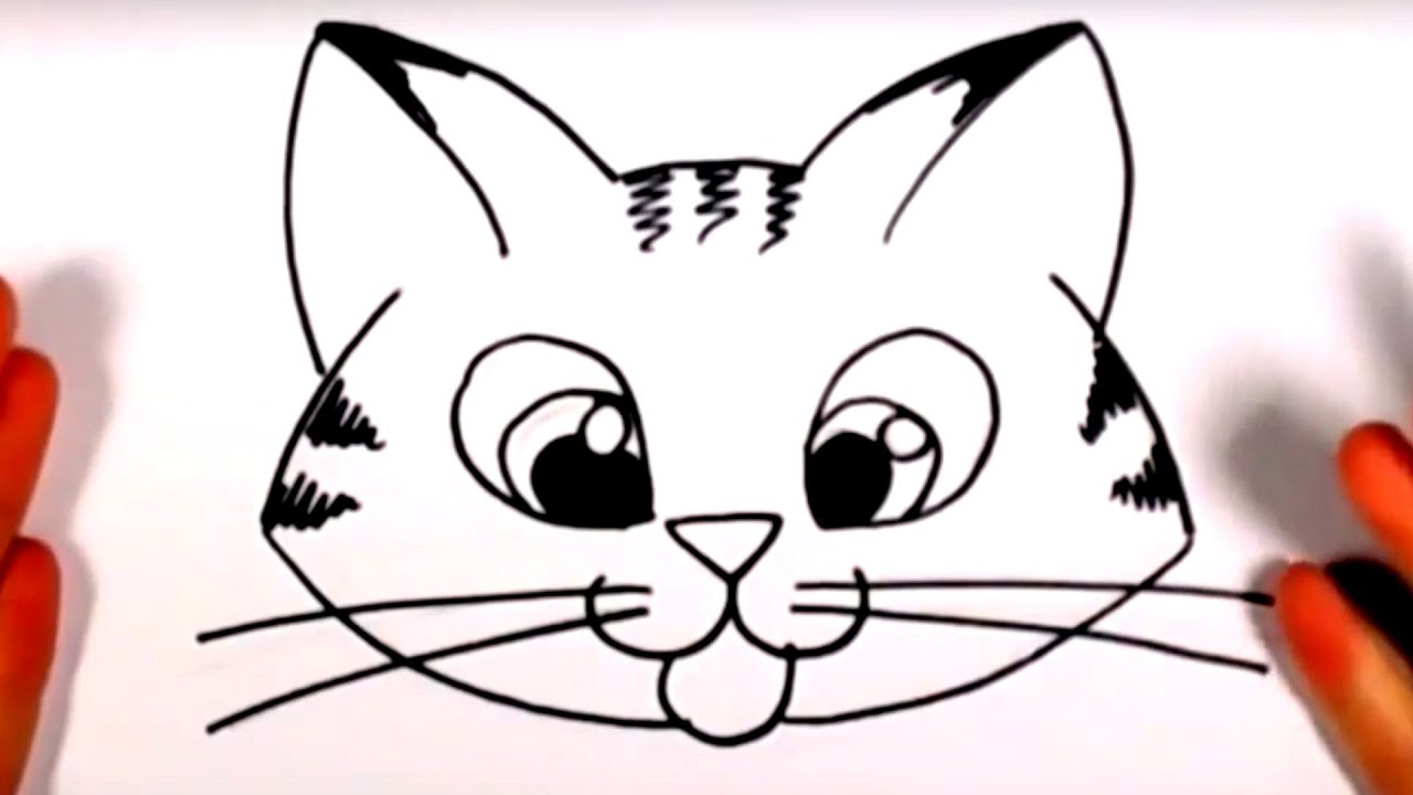 How To Draw A Cute Kitten Face - Tabby Cat Face Drawing CC ...