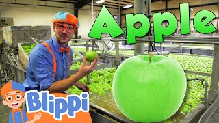 Learning Healthy Eating For Kids With Blippi At The Apple Factory  | Educational Videos For Toddlers