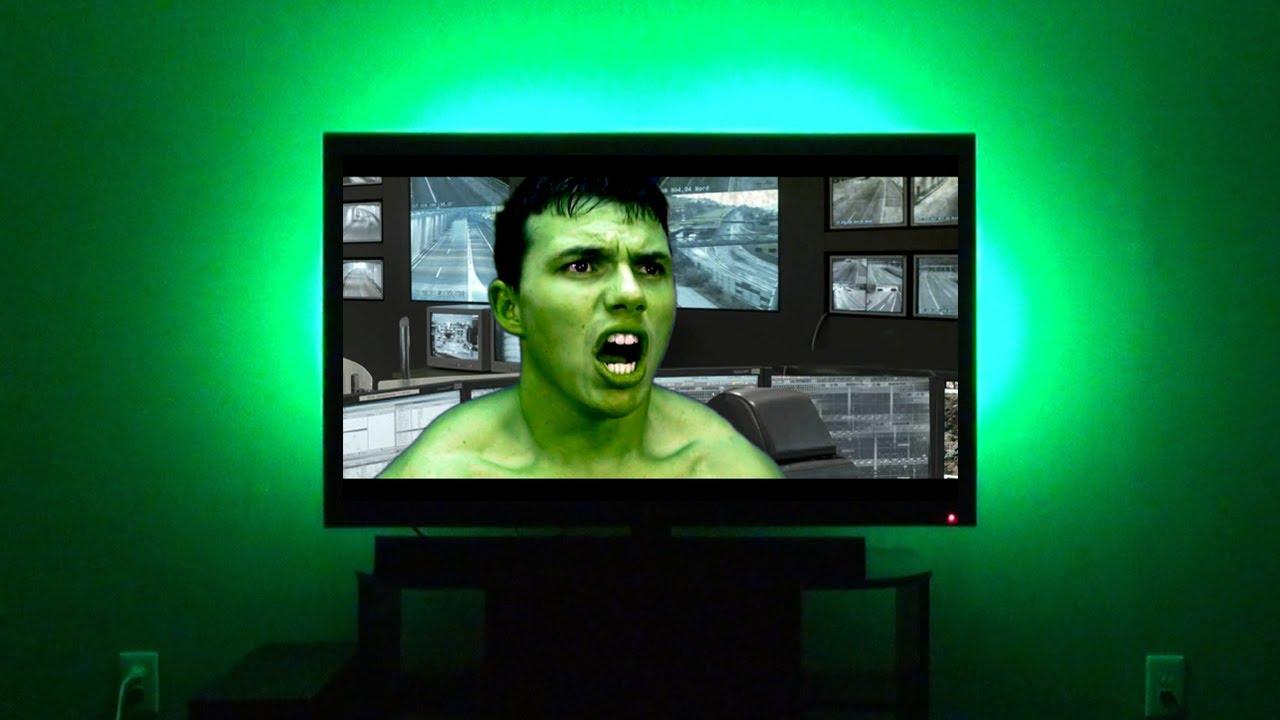 led home theater accent lights lighting behind tv youtube. Black Bedroom Furniture Sets. Home Design Ideas