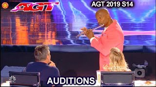 Terry Crews Plays the Flute & X-Buzzed by Simon  | America's Got Talent 2019 Audition