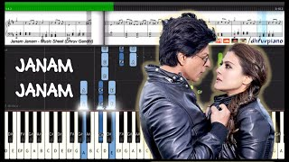 ♫ Janam Janam (Dilwale) Arijit Singh & SRK || Piano Tutorial + Music Sheet + MIDI with Lyrics