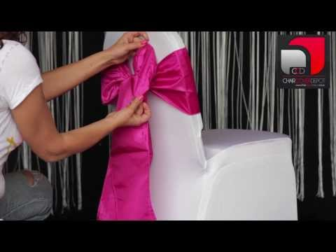 How to tie taffeta sash to chair cover