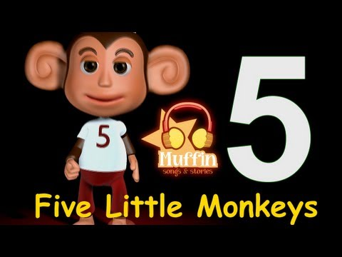 Cântece pentru copii - Five Little Monkeys - Cinci mici maimute