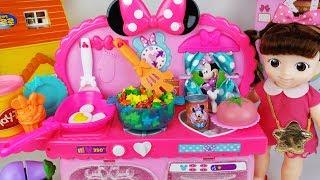 Baby doll and play doh Kitchen cooking food toys surprise eggs play 아기인형 미니마우스 플레이도우 주방과 서프라이즈에그 장난감