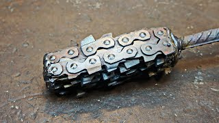 Damascus steel from an old chainsaw chain USSR.