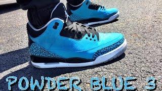 "Air Jordan Retro 3 ""Powder Blue"" ON FEET"