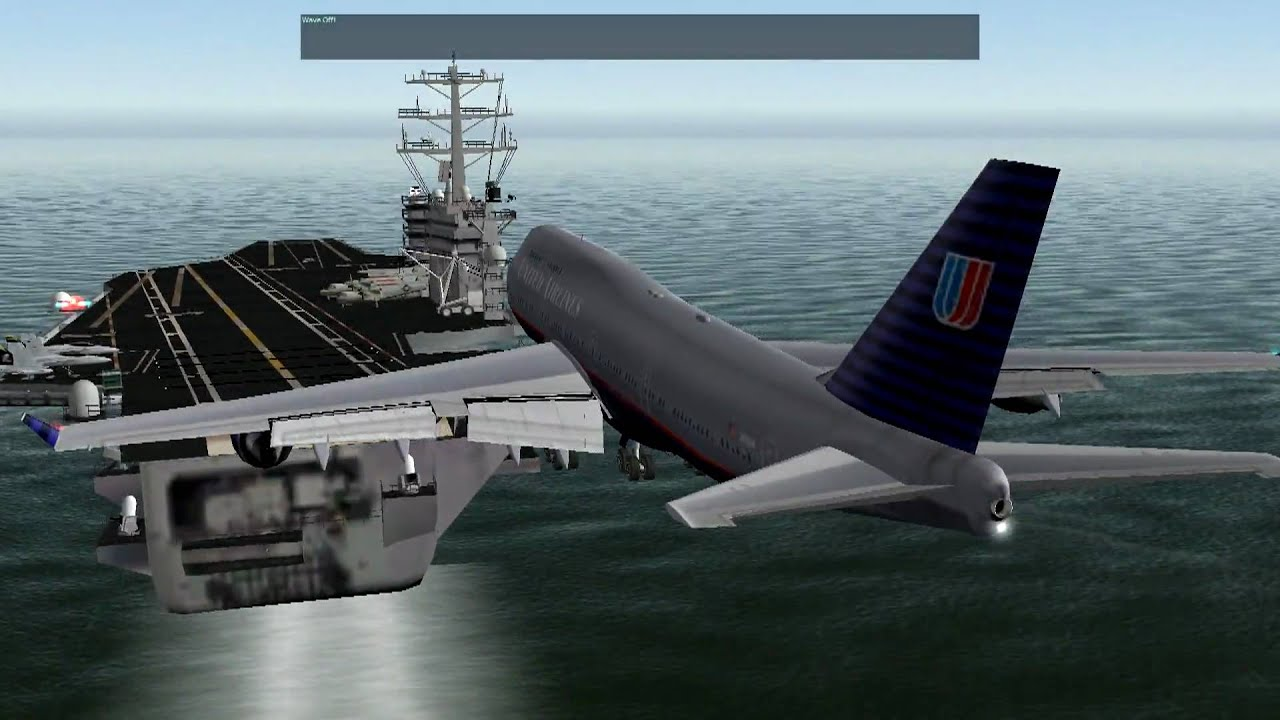X-Plane 9 - Boeing 747 Aircraft Carrier landing - YouTube