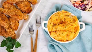 "Mac & Cheese, Oven ""Fried"" Chicken & Creamy Coleslaw 