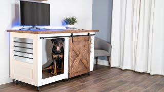 DIY Barn door dog crate and entertainment center