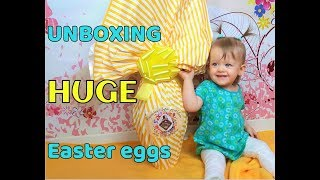 Unboxing HUGE Easter Eggs | One year old baby opens big surprise eggs with her father!
