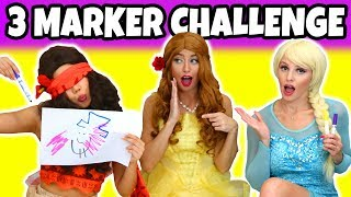 3 Marker Challenge. Moana, Elsa, and Belle Dress Up, Who Wins? (Totally TV)