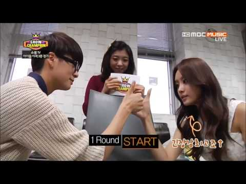 131016 Jieun vs. f(x)'s Amber - Thumb Wrestling cut @ Show Champion