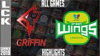 GRF vs JAG Highlights ALL GAMES   LCK Summer 2019 Week 4 Day 1   Griffin vs Jin Air Greenwings