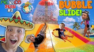 GIANT BUBBLE WATER SLIDE! Cancun Mexico Waterpark! Moon Palace Grand (FUNnel Vision Mexico 2018 #2)