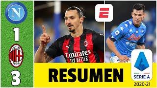 Napoli 1-3 AC Milan y son líderes. Doblete de Zlatan y salió lesionado. Chucky fue titular   Serie A