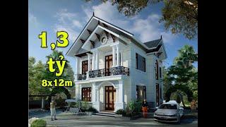 Mẫu nhà 2 tầng 8x12m