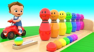 Bowling Alley Color Pins Toys 3D | Learning Colors with Baby Fun Play Kids Children Toddler Edu Toys
