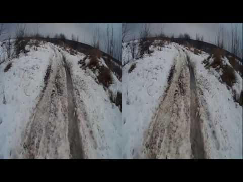 Thaw in 3D! Mud Puddles, Old Fence!3D VIDEO