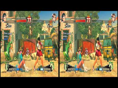 (3D & 4K) Super Street Fighter 4 3840x2160 Sakura vs Chun Li (Ultra HD) Oculus Rift
