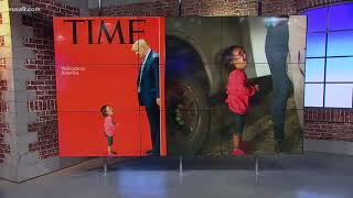 TIME Magazine cover shows Trump staring down at crying child