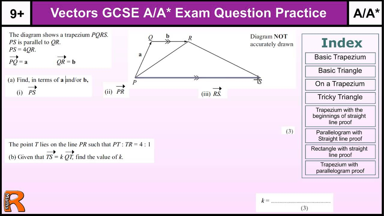 how to do vectors a a gcse maths revision higher level worked exam questions inc straight. Black Bedroom Furniture Sets. Home Design Ideas