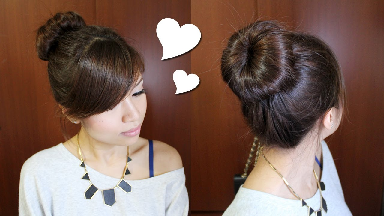 Hairstyles For Short Hair Daily: Everyday Perfect Bun Updo Hairstyle For Medium Long Hair