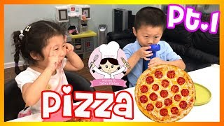 KIDS SIZE COOKING - PEPPERONI PIZZA - LEARNING AND PLAYING Part 1 🎈 FOOD SHOPPING WITH CLAIRE