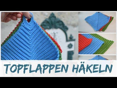 Topflappen häkeln mit Rippenmuster aus vier Quadraten | VideoMoviles.com