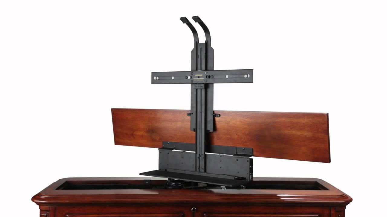 crystal pointe brown 360 swivel end of bed tv lift cabinet youtube. Black Bedroom Furniture Sets. Home Design Ideas