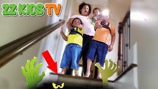 WHAT'S INSIDE OUR CREEPY BASEMENT! ZZ KIDS TV VLOGSKIT