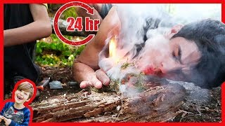 24 HOUR BOX FORT SURVIVAL CHALLENGE IN THE WOODS WITH PRIMITIVE FIRE!