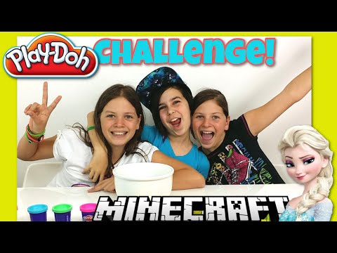 Play-Doh Challenge #2 - Minecraft and Frozen Build With My Friends The Twins