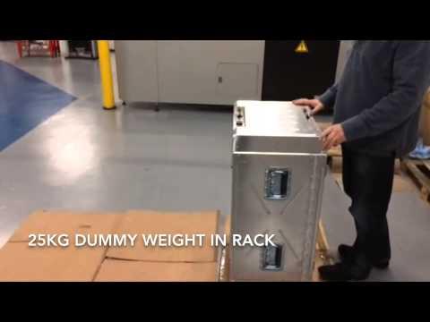 """7U 19"""" shock mounted rack case topple test"""