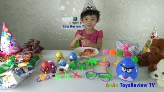 Chocolate surprise eggs Unboxing ❤ AnAn Birthday Party ❤