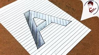 3D Siêu Ảo !! Vẽ Chữ A 3D LÚN SÂU XUỐNG MẶT GIẤY - Đánh lừa Thị Giác