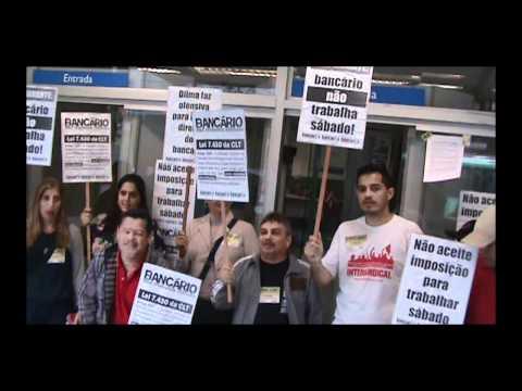 Bancário não Trabalha Sábado - Categoria faz manifestação no Centro de  Santos a297047cae698