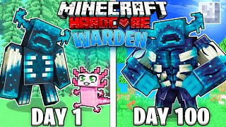 I Survived 100 Days as a WARDEN in Hardcore Minecraft!