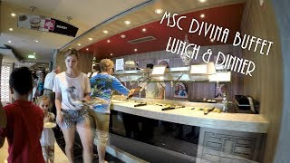 MSC Divina Buffet Food for Dinner & Lunch (4K)