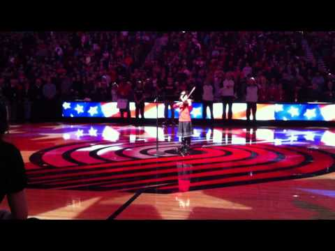My 6 yrs old student Megan played National Anthem at Trail Blazer's game opening from her heart